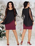 Женское платье из дайвинга с напылением блеска + накидка из шифона 42 - 54 рр