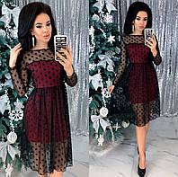 Нарядное женское платье сетка стрейч на трикотажной основе с 42 по 48 рр