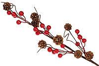 """Декоративная искусственная ветка  """"Ягоды и Шишки """" 60 см, цвет - красный, красивый декор, набор 24 шт, фото 1"""