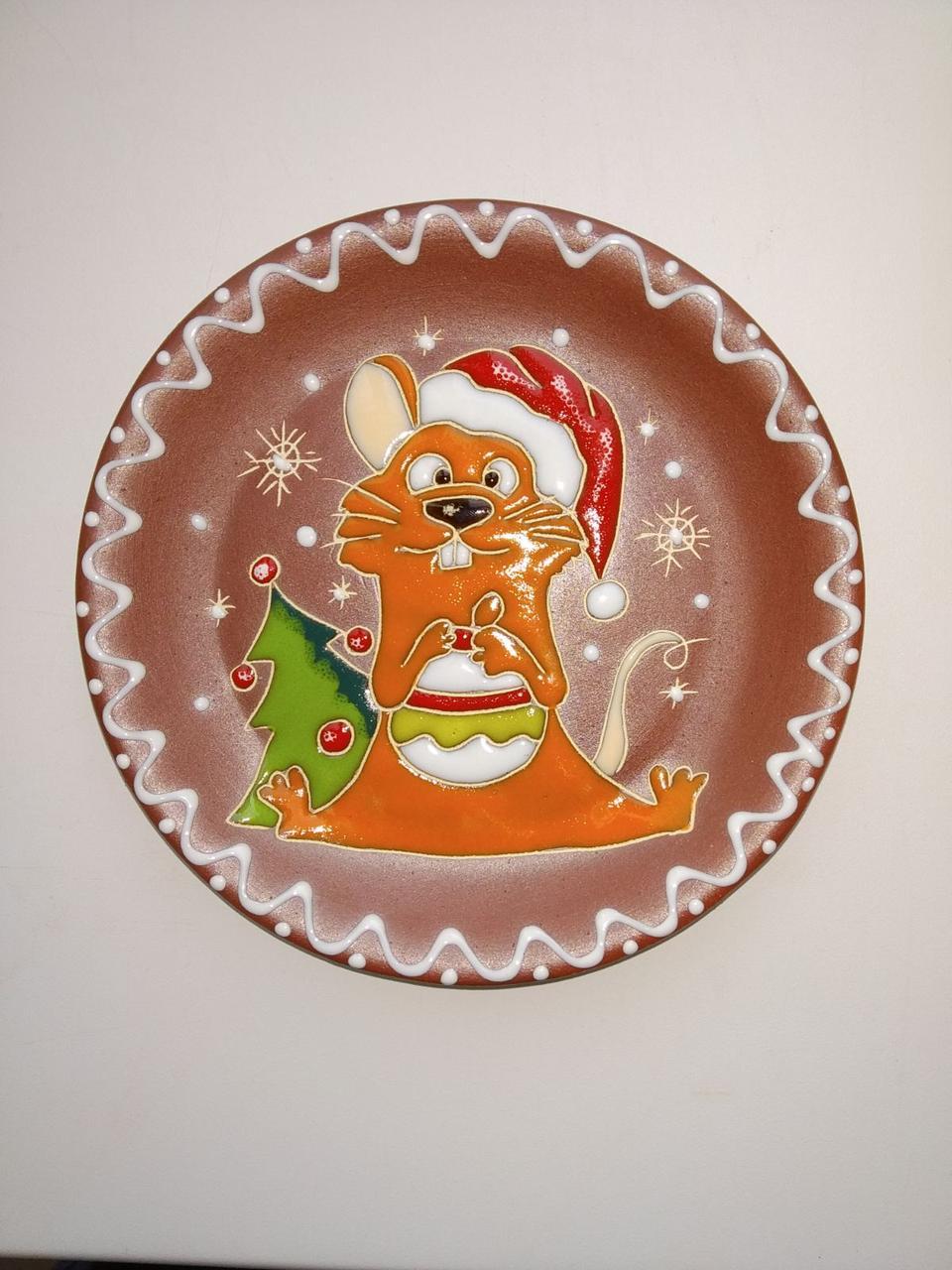 """Блюдце керамическое под чашку """"Крыса новогодняя"""""""