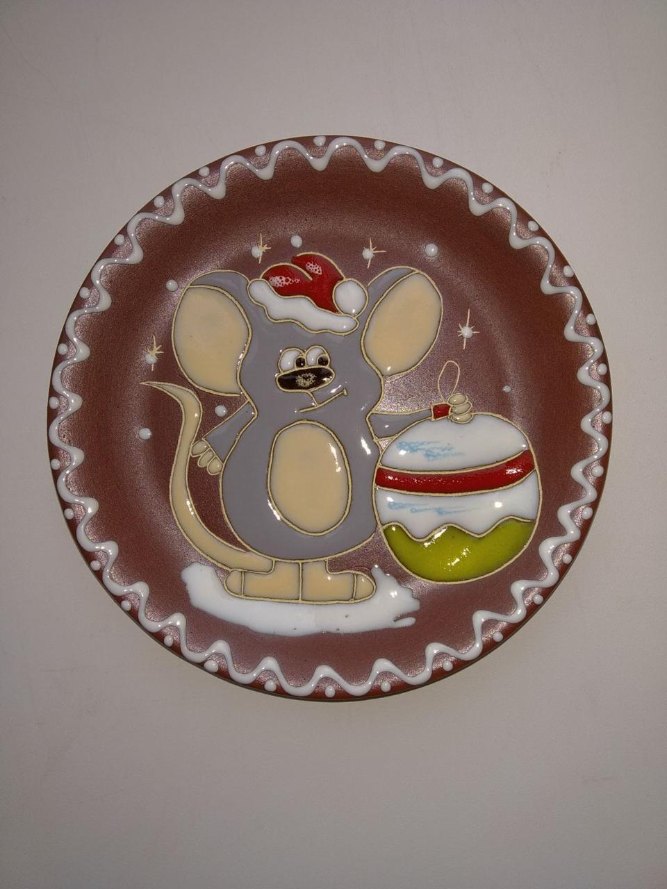 """Блюдце керамическое под чашку """"Мышь новогодняя"""""""