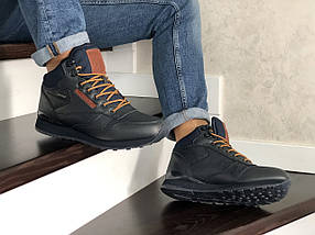 Мужские кроссовки зимние прессованная кожа внутри эко мех цвет темно синий, фото 2