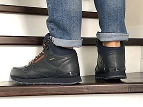 Мужские кроссовки зимние прессованная кожа внутри эко мех цвет темно синий, фото 3