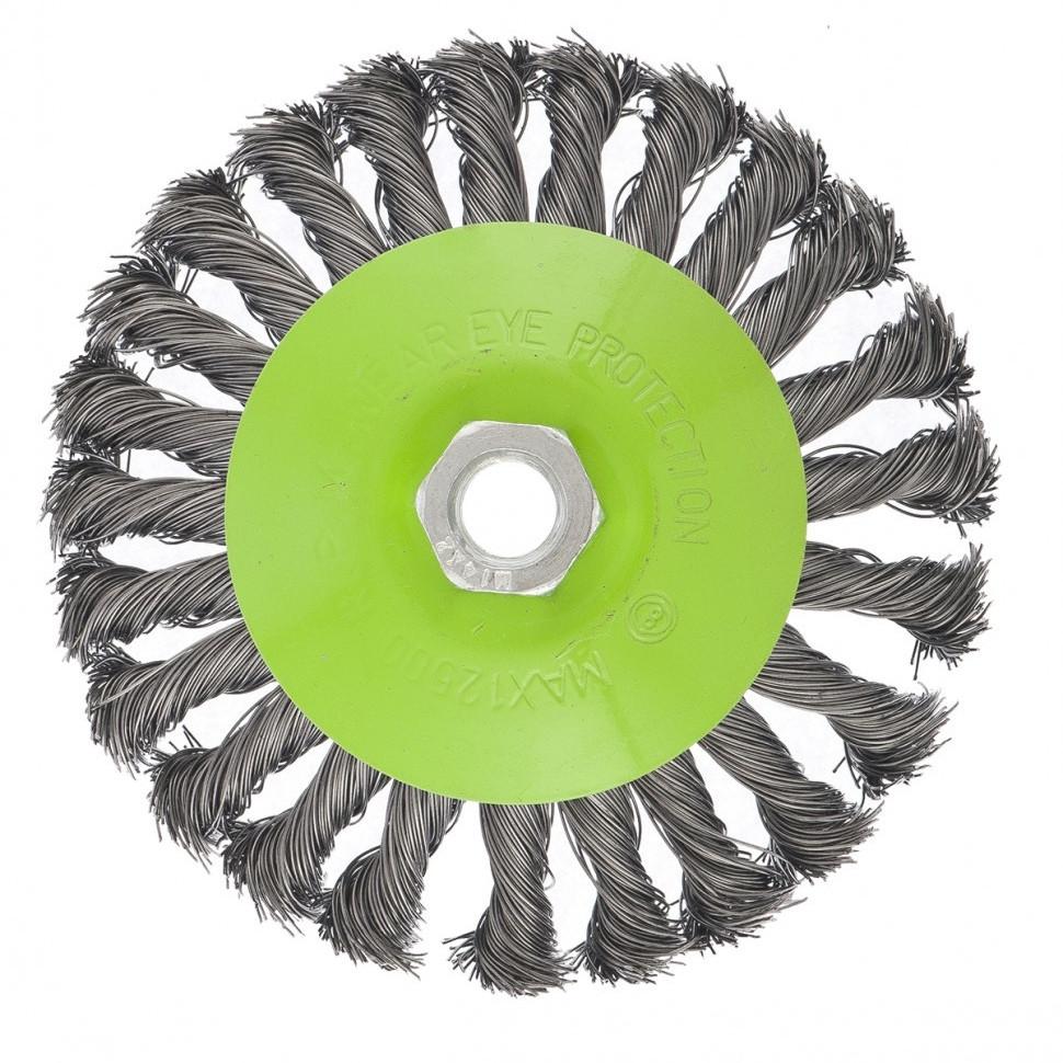 """Щетка для УШМ, 125 мм, М14, """"тарелка"""", крученая металлическая проволока Сибртех"""