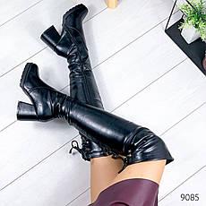 """Ботфорты женские зимние черного цвета из эко кожи """"9085"""". Сапоги женские зимние. Сапоги ботфорты зима, фото 2"""