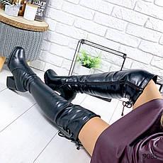 """Ботфорты женские зимние черного цвета из эко кожи """"9085"""". Сапоги женские зимние. Сапоги ботфорты зима, фото 3"""