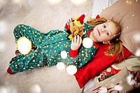 Піжама комбінезон для дівчаток новорічний утеплений