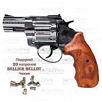 """Револьвер флобера Stalker 2.5"""" nickel wood коричнева рукоять"""