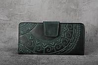 Кожаный кошелек ручной работы, зелёный кошелек c тисненым орнаментом, фото 1