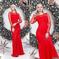 Гипюровое платье в пол, красный