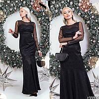 Гипюровое платье в пол, черный