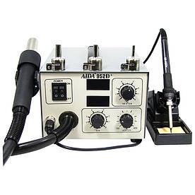 Паяльная станция AIDA 952D+ (фен с вентиляторным нагнетателем, встроенным в корпус блока управления, паяльник)