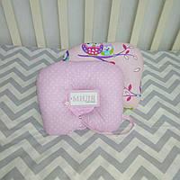 Детские ортопедические антиалергенные подушки для сна Совы на розовая в горошек Т.М.Миля 22 х 26 см (197)
