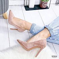 """Туфли женские на каблуке пудрового цвета из эко замши """"9084"""". Сабо женские. Лоферы женские. Туфли лодочки"""