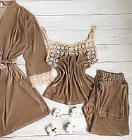 Женская велюровая пижама штаны и майка XL