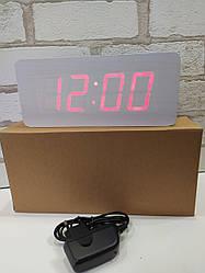 Часы настольные дерево VST-865 (белый)