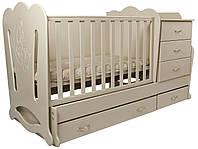 """Детская кроватка-трансформер с комодом 3в1 """"Соня"""" Angel baby, цвет на выбор"""