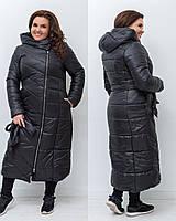 Зимнее теплое женское батальное пальто-куртка из плащевки с поясом капюшоном и карманами р.48-54 . Арт-1451/25
