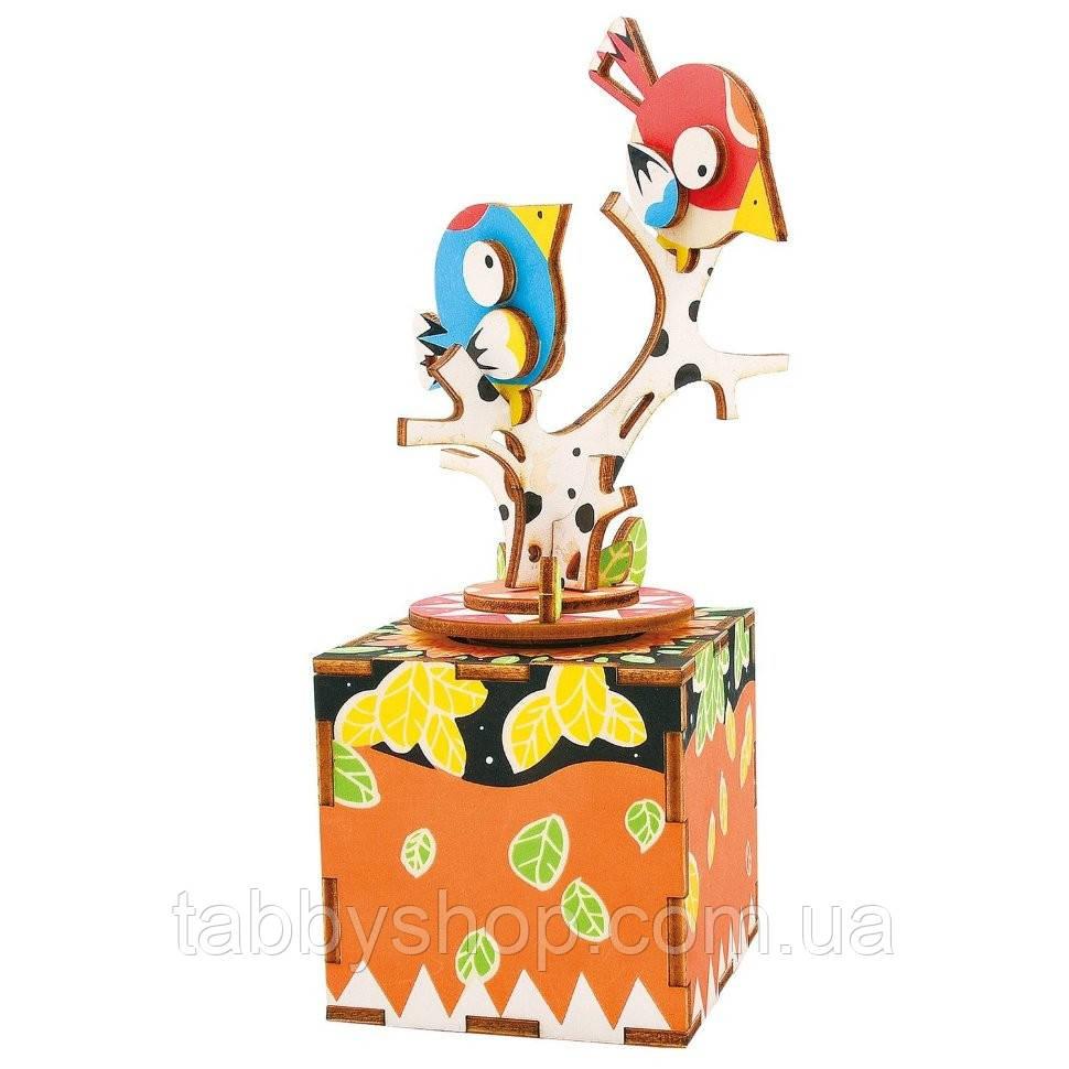 Деревянный 3D пазл Robotime Музыкальная шкатулка Птичка