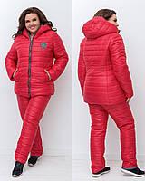 Зимний стеганый женский костюм больших размеров куртка на овчине и с капюшоном р.50-56. Арт-1452/25