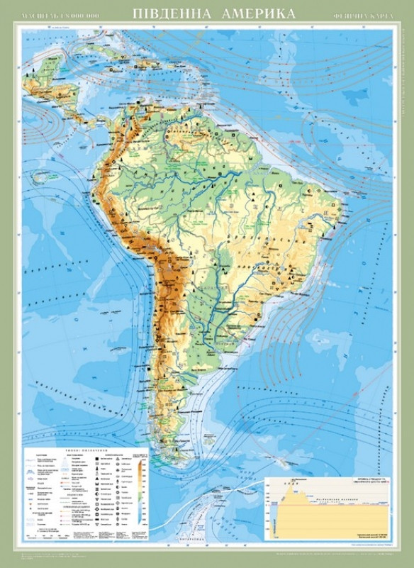 Південна Америка. Фізична карта (на планках )