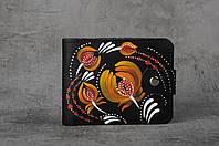 Кожаный кошелек ручной работы, петриковка, черный кошелек с петриковской росписью, фото 1
