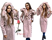 Зимнее пальто из шерстяной ткани с натуральным мехом, фото 1