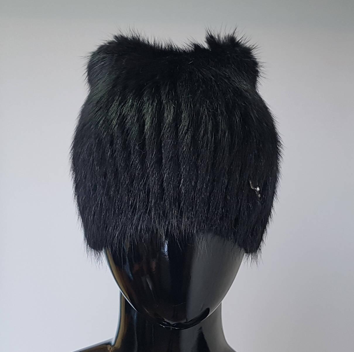 Ондатровая меховая шапка «Кошачьи ушки» черного цвета