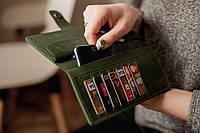 Большой кошелек из натуральной кожи на полную купюру_зеленый, подарок женщине, подарок маме