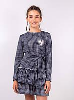 {есть:164} Платье для девочек с поясом и рюшами,  Артикул: 2468-черный