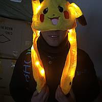 Праздничная шапка в виде пикачу с двигающимися ушами, светящаяся!, фото 1