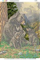 """А2 """"Сім'я ведмедів в лісі (част. віш.)"""" схема для часткової вишивки бісером"""