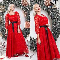 Вечернее платье с поясом, красный