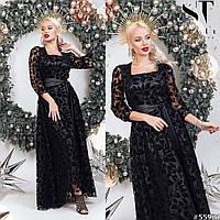 Вечернее платье с поясом, черный