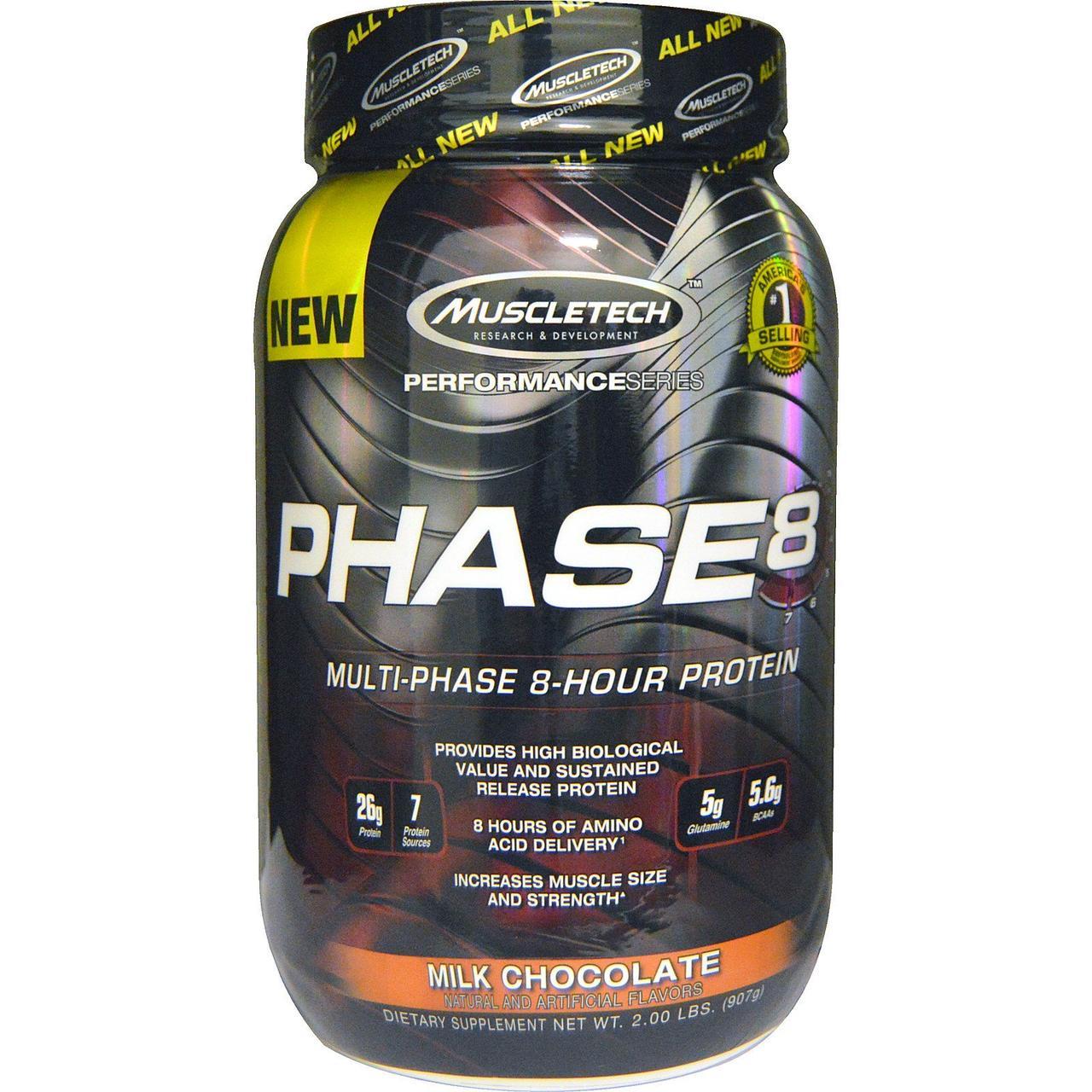 Многофазный протеин, молочный шоколад, Phase8, Muscletech, 907 гр.