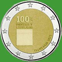 Словения 2 евро 2019 г. 100-летие со дня основания Люблянского университета . UNC.