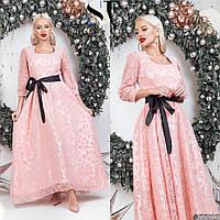 Вечернее платье с поясом, персиковый
