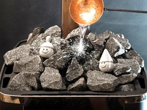 Камни и их температура в печи для сауны Классик 20 м³ со стеклом 400*400 и выносом