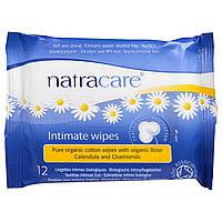 Natracare, Сертифицированные органические хлопковые салфетки для интимной гигиены, 12 салфеток
