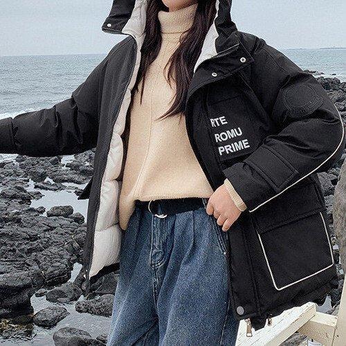 Куртка зимняя женская короткая, черный пуховик  СС-8527-10