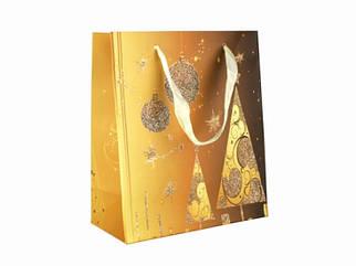 Подарочный пакет Золотая ель 21 см