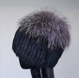 Женская меховая шапка «Кролик с чернобуркой»