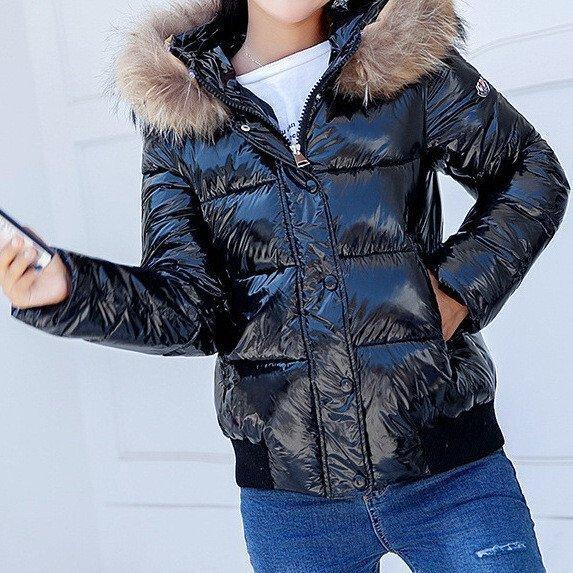 Куртка зимняя женская короткая, черный пуховик размер 44 (XXL) СС-8559-10