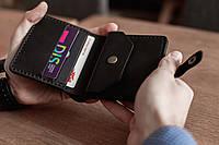 Компактное мужское кожаное портмоне ручной работы_модель Lana_подарок мужу