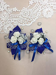Свадебная бутоньерка для свидетелей 3 розочки синяя