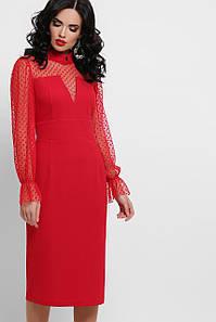 Нарядное новогоднее платье красного цвета