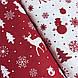 Хлопковая ткань (ТУРЦИЯ шир. 2,4 м) елки, олени, снежинки, снеговики белые на красном, фото 2