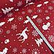 Хлопковая ткань (ТУРЦИЯ шир. 2,4 м) елки, олени, снежинки, снеговики белые на красном, фото 3