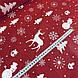 Хлопковая ткань (ТУРЦИЯ шир. 2,4 м) елки, олени, снежинки, снеговики белые на красном, фото 4