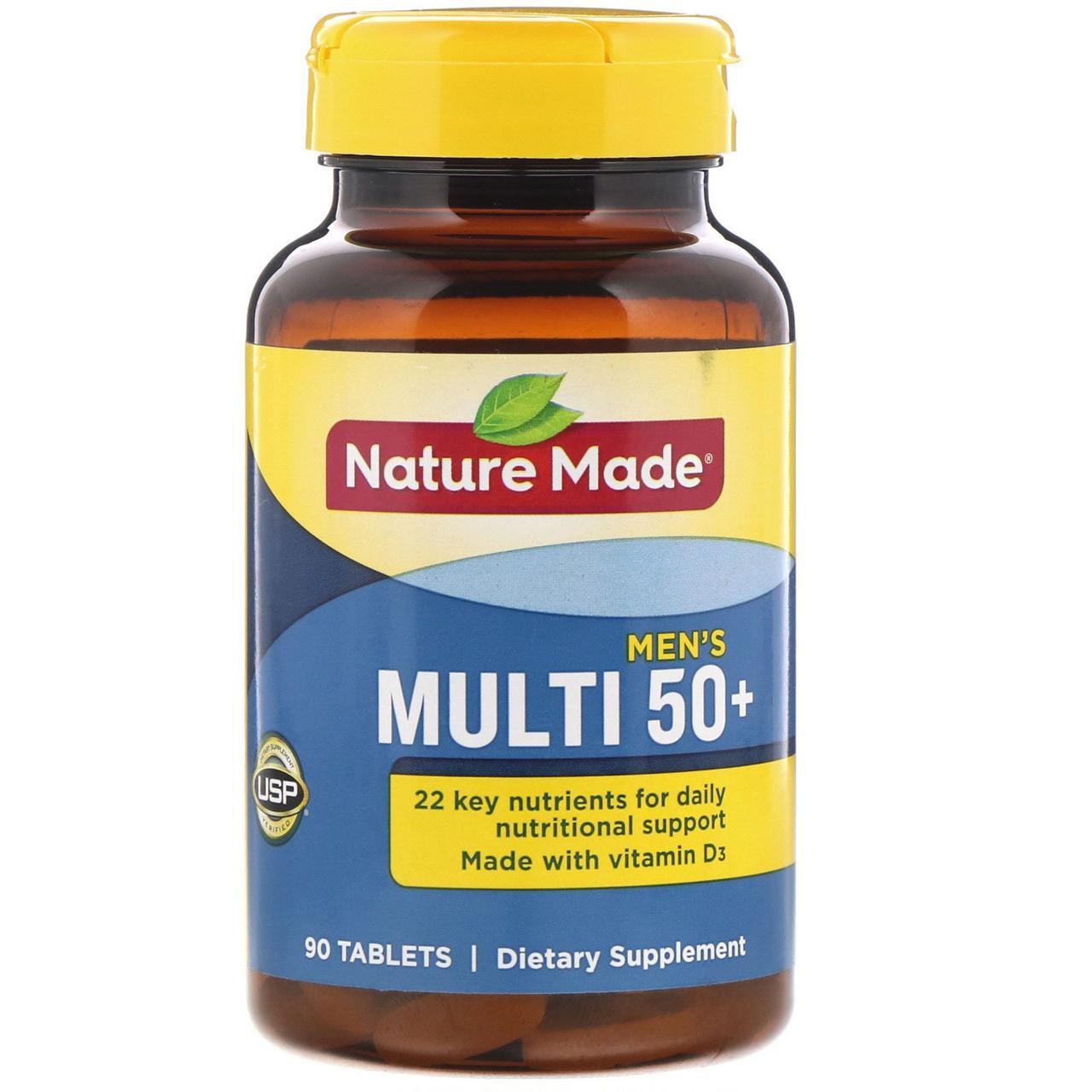 Мультивитамины для мужчин 50+, Multi For Him 50+, Nature Made, 90 табл.
